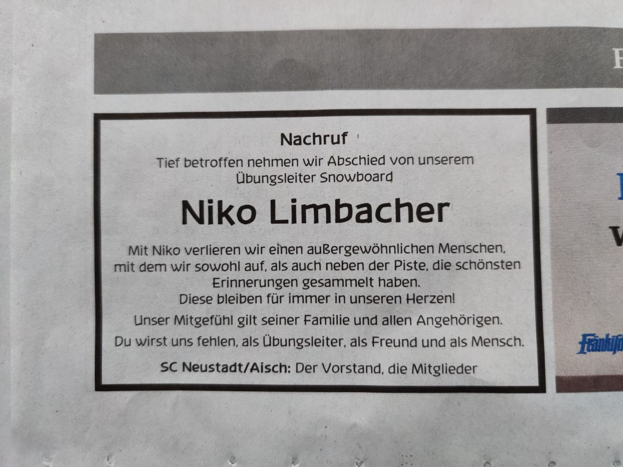 Nachruf für Niko Limbacher erschienen am 02.11.2020 in der FLZ